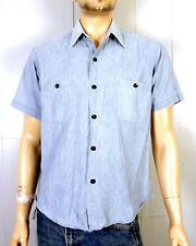 vtg 60s Sears hong kong 100% Cotton Chambray Denim Work Shirt black buttons L