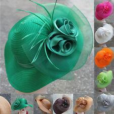 Women Dress Church Wedding Crin Veil feather satin Kentucky Derby Sun Hats A433