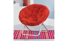 Mainstays Faux-Fur Saucer Chair Seat Foldable, Plush Padded (Red) +FREE SHIPPING