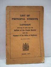 1917 - List of Principal Streets in London - London Postal Area