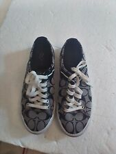 COACH SHOES WOMENS LESLEY FASHION SNEAKERS SIZE 9 B BLAC/GRAY SIG (C)