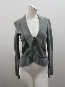Emporio armani Womens Button Ruffle Detail Khaki Grey Jacket Size 38 (16A)