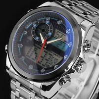 New Men's LCD Stainless Steel Stopwatch Digital Analog Date Sport Watch