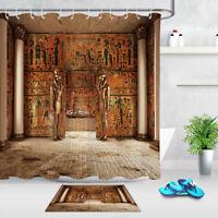 Bathroom Hooks Polyester Fabric Shower Curtain Set Egyptian Pharaoh's Tomb Mummy