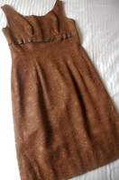 VINTAGE 1960'S BELVERA FASHIONS SYDNEY EMPIRE LINE CHOCOLATE BROWN LACE DRESS SW