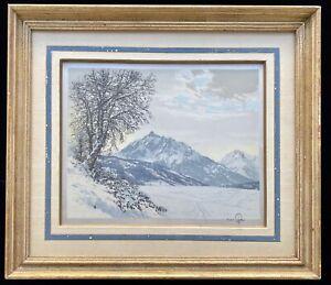 Original HANS FIGURA Color Aquatint Etching Silk Satin Snow Vienna Austria Alps