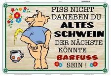 Piss nicht daneben altes Schwein Blechschild Schild gewölbt Tin Sign 20 x 30 cm