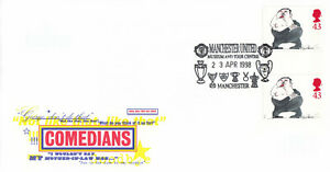 (66656) GB FDC GUTTER PAIR Les Dawson Comedians Manchester United 1998