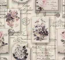 Tapete Vintage Holz Floral grau rosa Tapete Rasch Aqua Relief 4 855210 (4,46€/1q