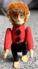 "Rare Antique Schuco Mohair Jtd Miniature Bellhop Monkey Pin Red/Black- 2 3/8"""