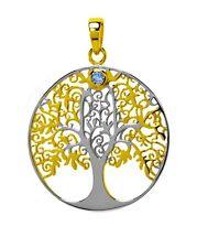 ciondolo albero della vita argento VERG CON UN PICCOLI Topazio Blu M Symbolik