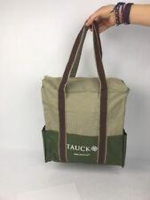 Tauck Tours Cloth Travel Bag Forrest Green Brown / Beige Zipper Beach Grocery Eu