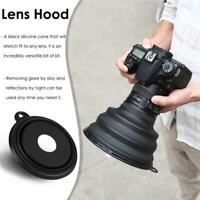 Reflection-free Collapsible Silicone Lens Hood for Camera Phone Large Black
