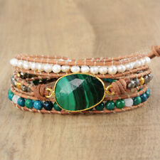Handmade Gold Natural Malachite Stone Pearl Beaded Leather Wrap Bracelet Women