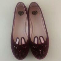 TUK Womens Burgundy Velvet Bunny Ballet Flats Slippers Size 9 New
