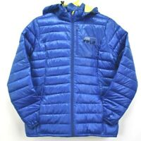 Clique Women's Large Polyester Quilted Puffer Jacket Coat Full Zip Blue Hooded