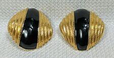 VTG St. John Large Designer Clip-on Earrings GoldTone Black Enamel Round Button