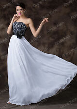 Black+White Formal Long Lace Prom Evening Party Bridesmaid Wedding Gown Dress