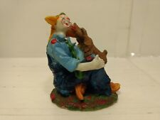 "Vintage 3.5"" Classic Cheerful Clown With Dog Figurine hd641"