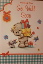 GET WELL SOON card - cute bear holding gifts