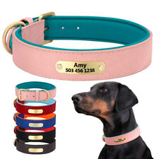 Personalized Leather Dog Collar Free Engraving With Name Custom Padded Doberman
