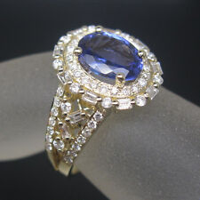 STUNNING VIOLET BLUE TANZANITE 14K SOLID YELLOW GOLD ENGAGEMENT DIAMOND RING