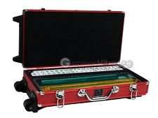 Wheeled Mahjong Set - White Tiles, All-in-One Pushers/Racks, Red Aluminum Case