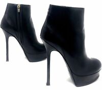 YSL Black Leather Fur Winter Boots Booties 40 Euro 8.5 US 100% Authentic