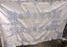 Gorgeous antique/vintage large heavy linen tablecloth &8 napkins IRISH? MADEIRA?
