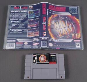 NBA JAM TOURNAMENT EDITION + CASE 1995 Authentic Super Nintendo SNES CLEAN PINS