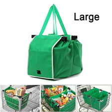 Foldable Tote Bag Grocery Grab Bag Fabric Shopping Carrier Clip-To-Cart Trolley