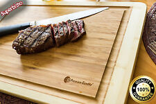 XL Bamboo Cutting Board Large End Grooves Chopping Wood Kitchen Butcher Block