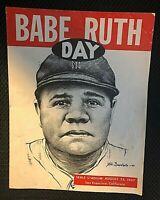 """BABE RUTH DAY"" INSANELY RARE ORIG. 8/23/47 SEALS STADIUM CHARITY GAME PROGRAM!!"