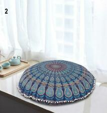 "Mandala  Blue Peacock Tapestry Round Pouf  Floor cushion Ottomans  Size 32"" In."