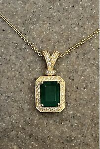 Vintage BH Effy 14K Yellow Gold Emerald & Diamond Halo Pendant Necklace