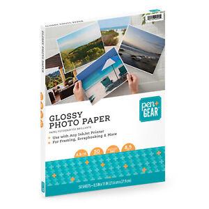 "Pen+Gear GLOSSY PHOTO PAPER 8.5"" x 11"" 50 SHEETS 8.5mil INKJET PRINTERS Letter S"