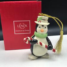 Lenox Christmas Ornament very merry porcelain nib box figurine Penguin candycane