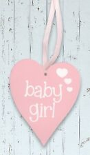 Baby Girl Pastel Pink Wooden Heart Wall Hanging in White by Eleganza