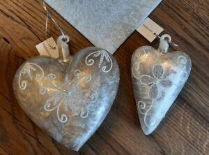 2 Deko Herzen Aufhängen Anhänger Silber  Perlmuttoptik - NEU Mundgeblasen