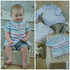 KNITTING PATTERN Baby Lace Hem and Yoke Dress Jumper and Cardigan DK KC 4206