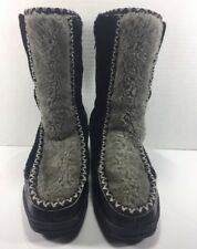 QUODDY MOCCASINS BOOTS Black/Gray SHERPA LINED SHEARLING Mid Calf Wm's 6