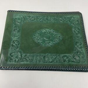 Vtg Embossed Leather Photo Album Green Italian Dry Mount
