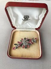 Vintage stunning jewel crest pink clear smoke crystal large flower pin brooch