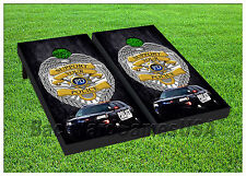 Support Local Police Cornhole Boards Police Beanbag Toss Game w Bags Set 01405