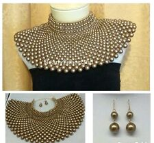 Beaded Bib Massive Egyptian Pearl Necklace Collar Statement Huge Gold Earrings