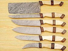 Custom Handmade Damascus Steel Kitchen Knife 6PC Set 007-6