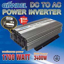 Power Inverter Modified Sine Wave 1700W ( 3400W Max) 12V-240V  With 1 Amp USB