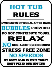 Hot Tub Rules Swimsuits Optional After Dark...Laminated Funny Sign