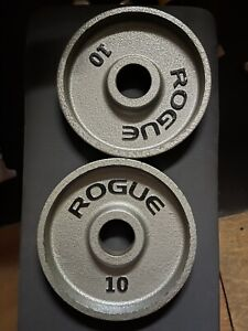 Rogue 10 Pound Olympic Machined Plates - USED Black Pair (20 lbs Total)