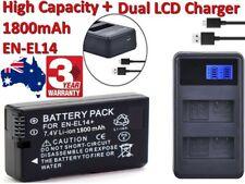 1800mAh EN-EL14 Camera Battery + DUAL Charger for Nikon D5100 D3100 D3200 D3300